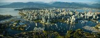 Vancouver Downtown, Kanada während eines Flugs