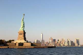 Die weltberühmte Freiheitsstatue von New York.