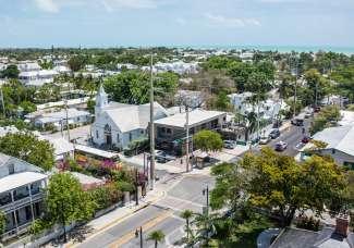 Der wunderschöne Ort Key West, aus der Vogelperspektive.