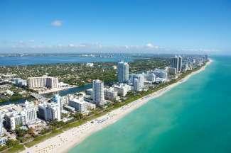 Ein toller Blick aus der Luft auf den berühmten Miami Beach.